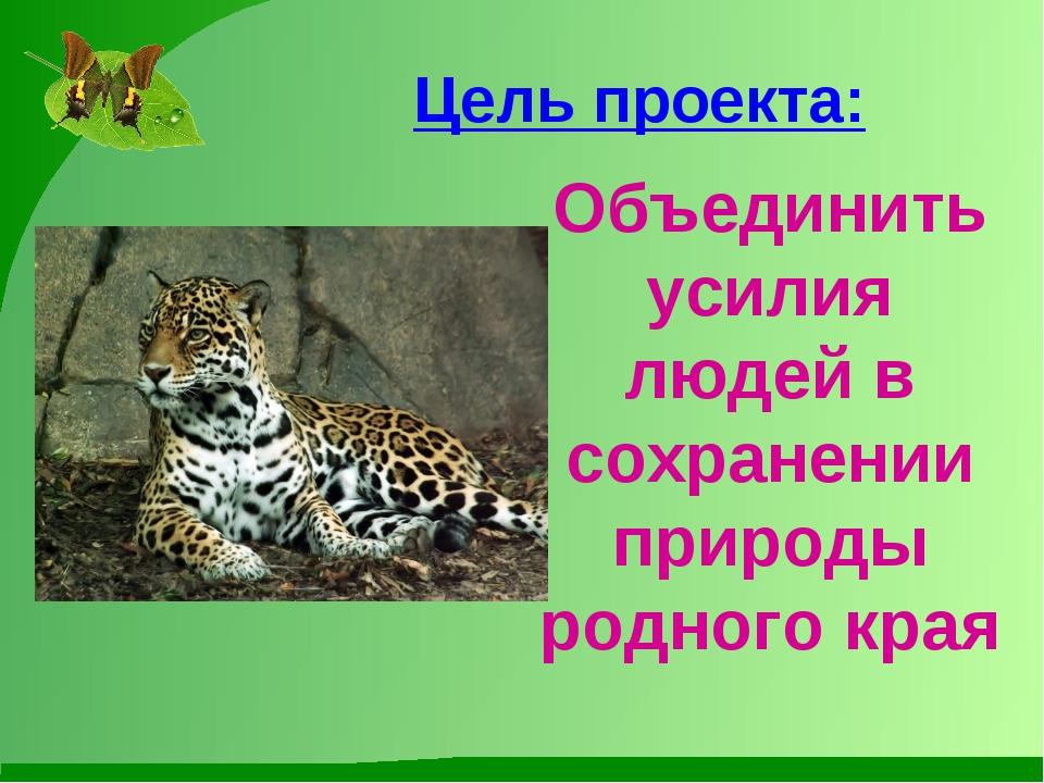 Цель проекта: Объединить усилия людей в сохранении природы родного края