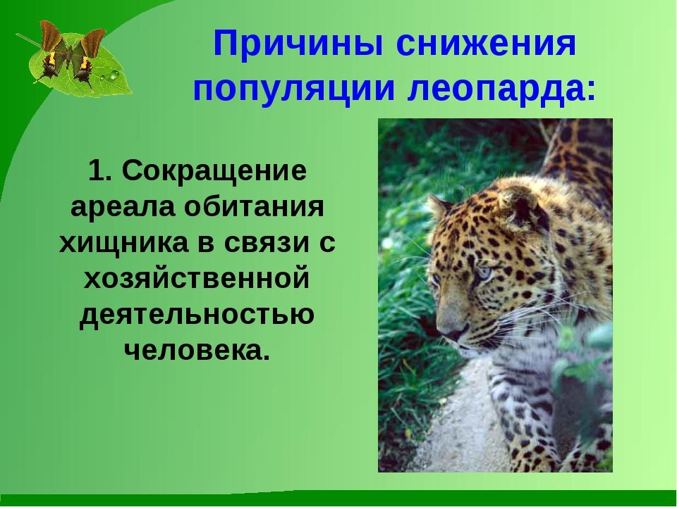 Причины снижения популяции леопарда: 1. Сокращение ареала обитания хищника в...