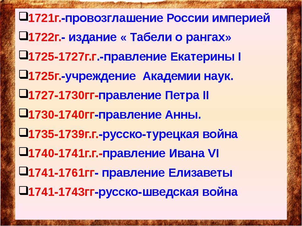 1721г.-провозглашение России империей 1722г.- издание « Табели о рангах» 172...
