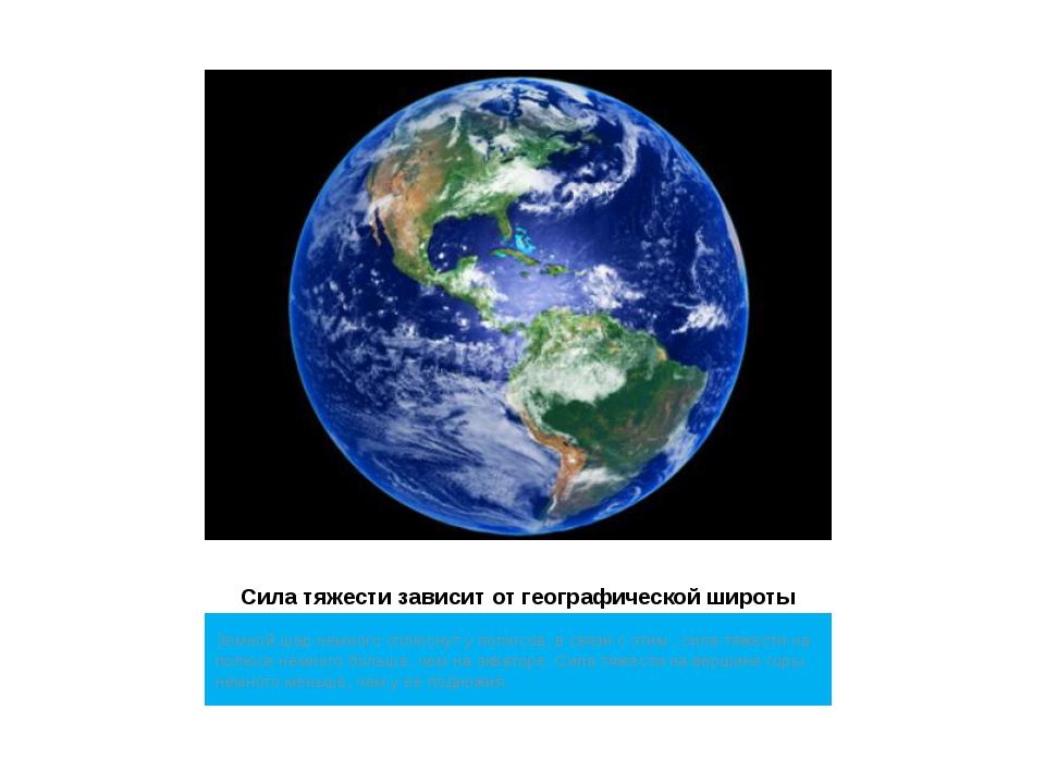 Сила тяжести зависит от географической широты Земной шар немного сплюснут у п...