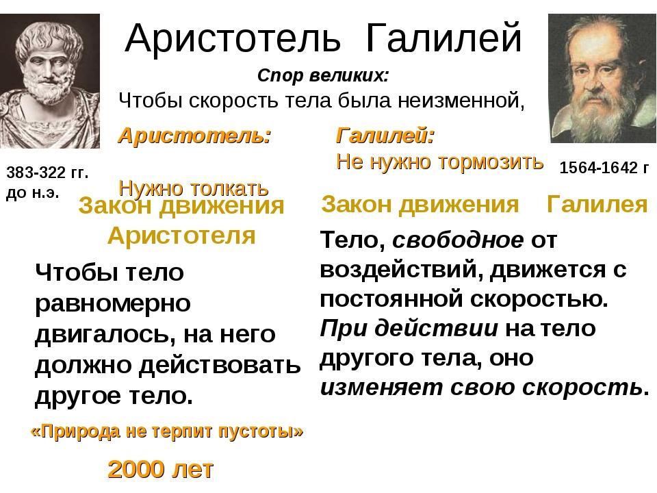 Аристотель Галилей Закон движения Аристотеля Чтобы тело равномерно двигалось,...