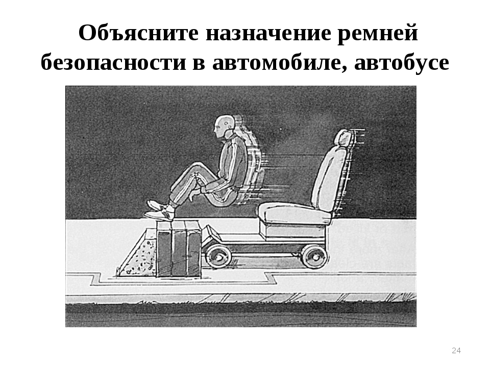 * Объясните назначение ремней безопасности в автомобиле, автобусе