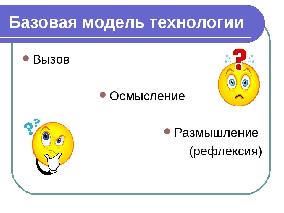 Базовая модель технологии Вызов Осмысление Размышление (рефлексия)