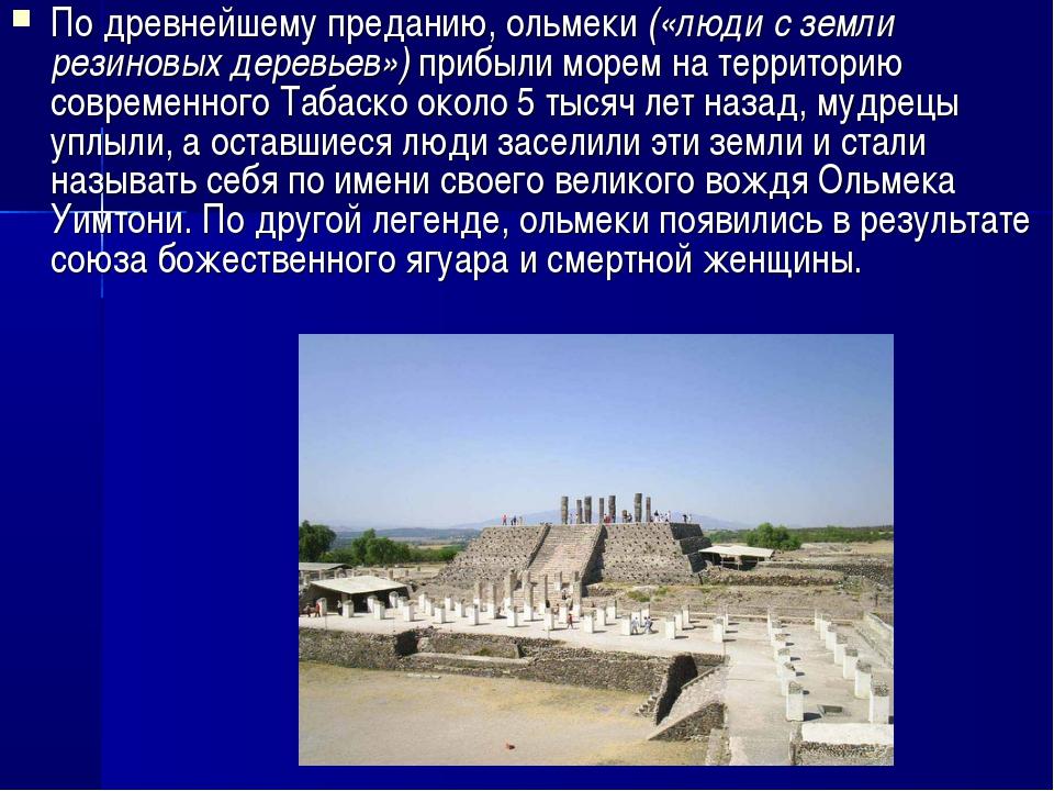 По древнейшему преданию, ольмеки («люди с земли резиновых деревьев») прибыли...
