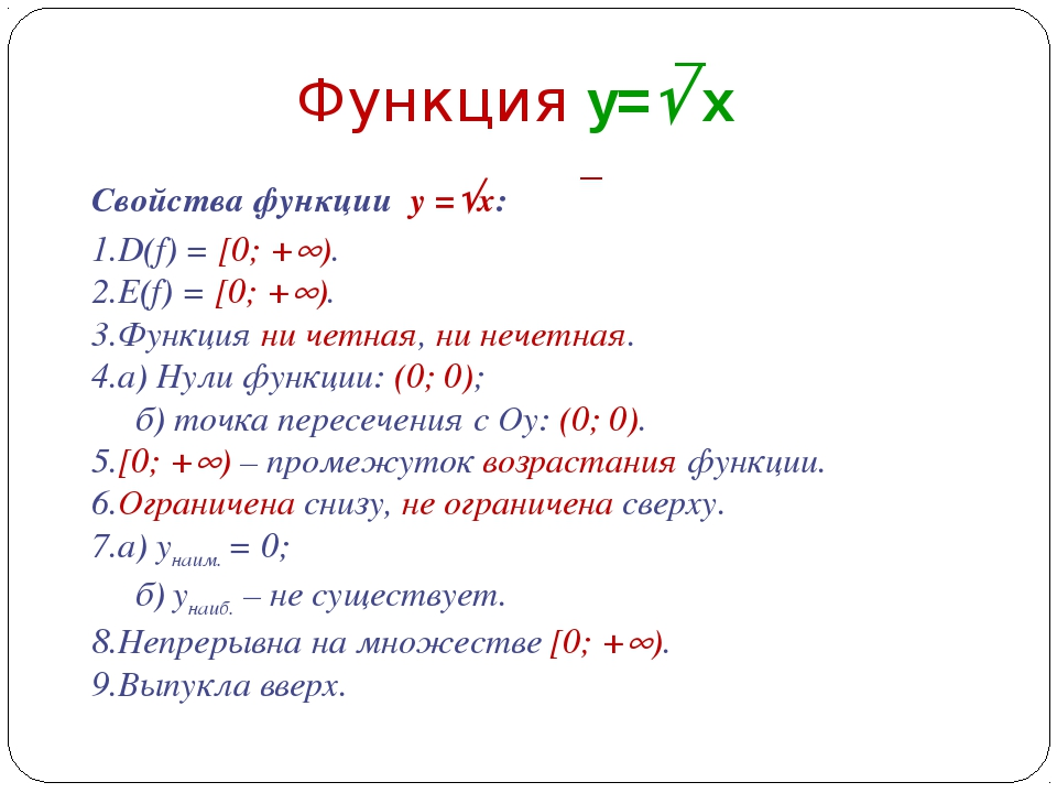 D(f) = [0; +). E(f) = [0; +). Функция ни четная, ни нечетная. а) Нули функ...