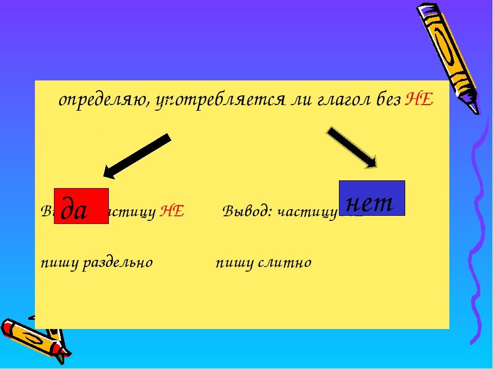 определяю, употребляется ли глагол без НЕ Вывод: частицу НЕ Вывод: частицу Н...
