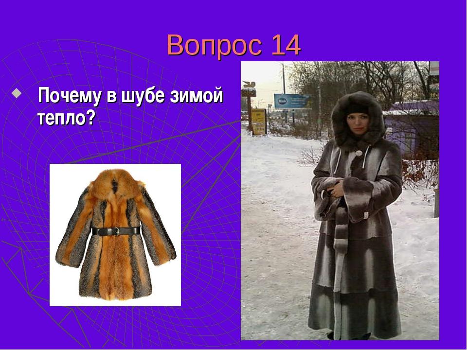 Вопрос 14 Почему в шубе зимой тепло? Шуба своего тепла не дает, она не греет,...