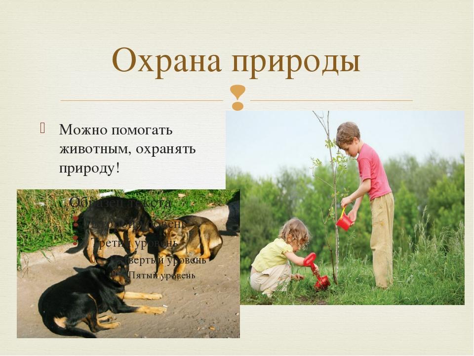 Охрана природы Можно помогать животным, охранять природу! 