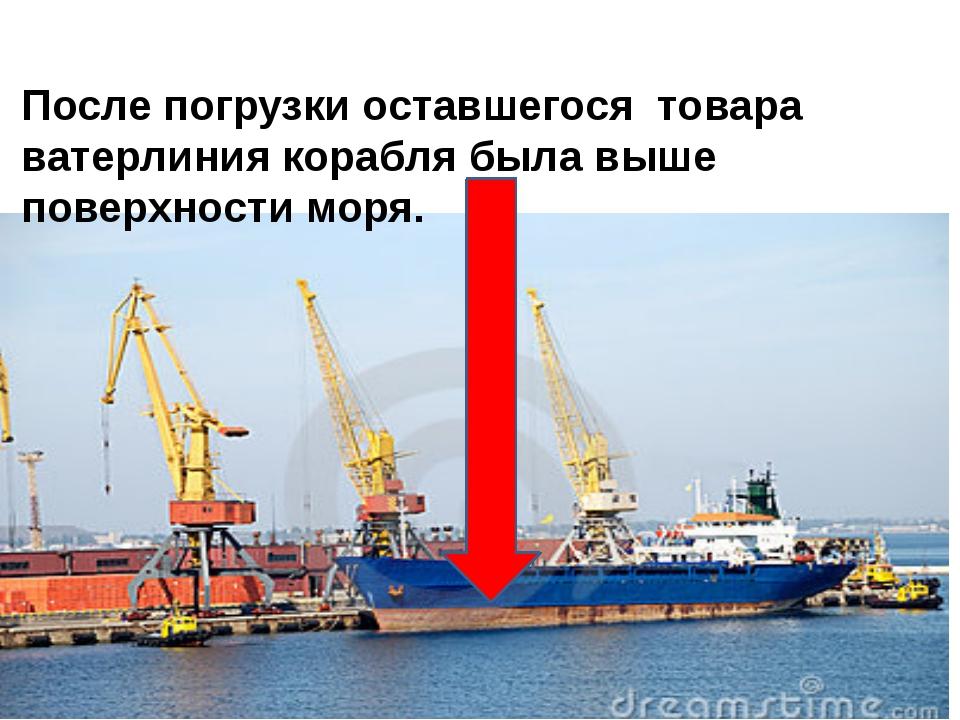 После погрузки оставшегося товара ватерлиния корабля была выше поверхности мо...