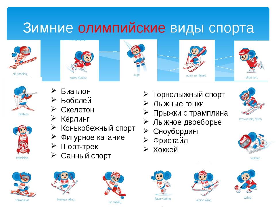 Зимние олимпийские виды спорта Биатлон Бобслей Скелетон Кёрлинг Конькобежный...