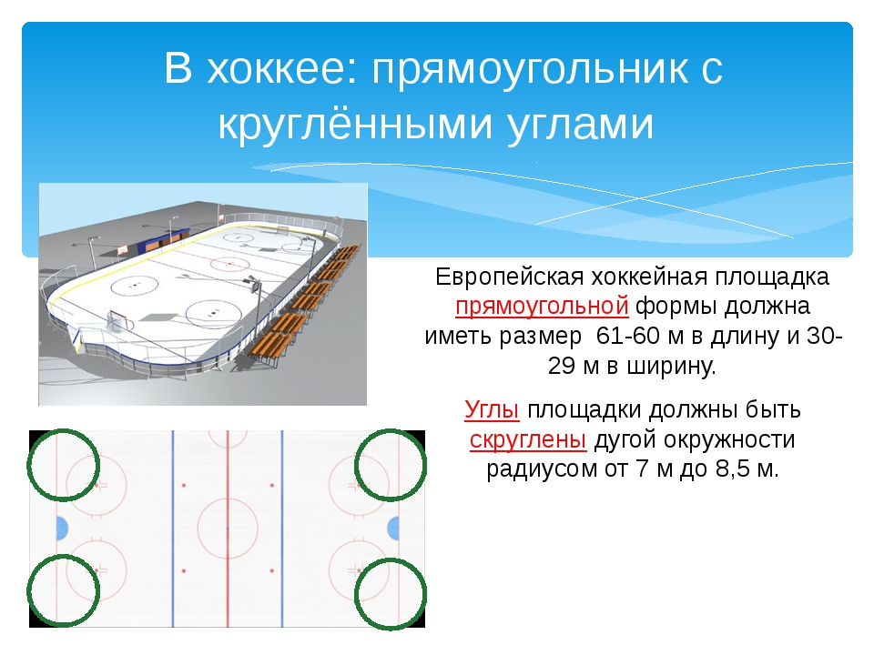 Европейская хоккейная площадка прямоугольной формы должна иметь размер 61-60...