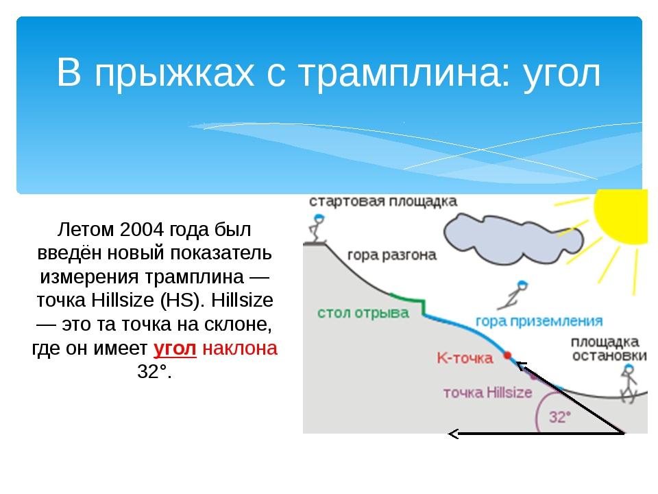 Летом 2004 года был введён новый показатель измерения трамплина — точка Hills...