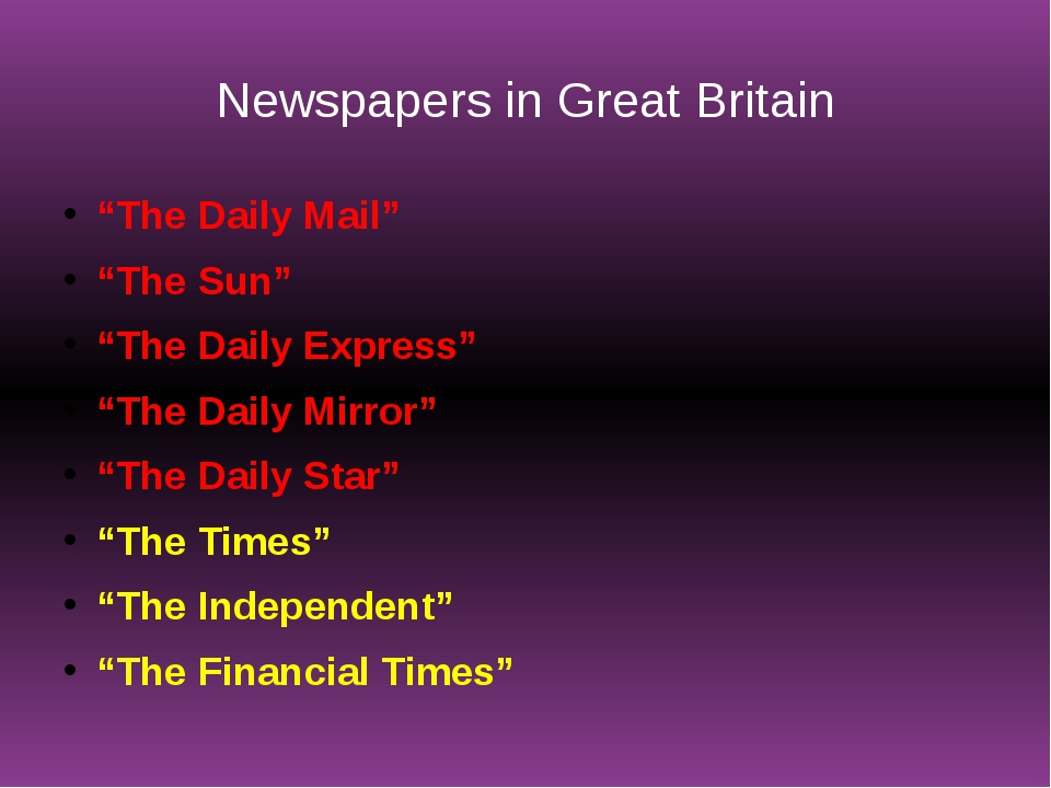 """Newspapers in Great Britain """"The Daily Mail"""" """"The Sun"""" """"The Daily Express"""" """"T..."""