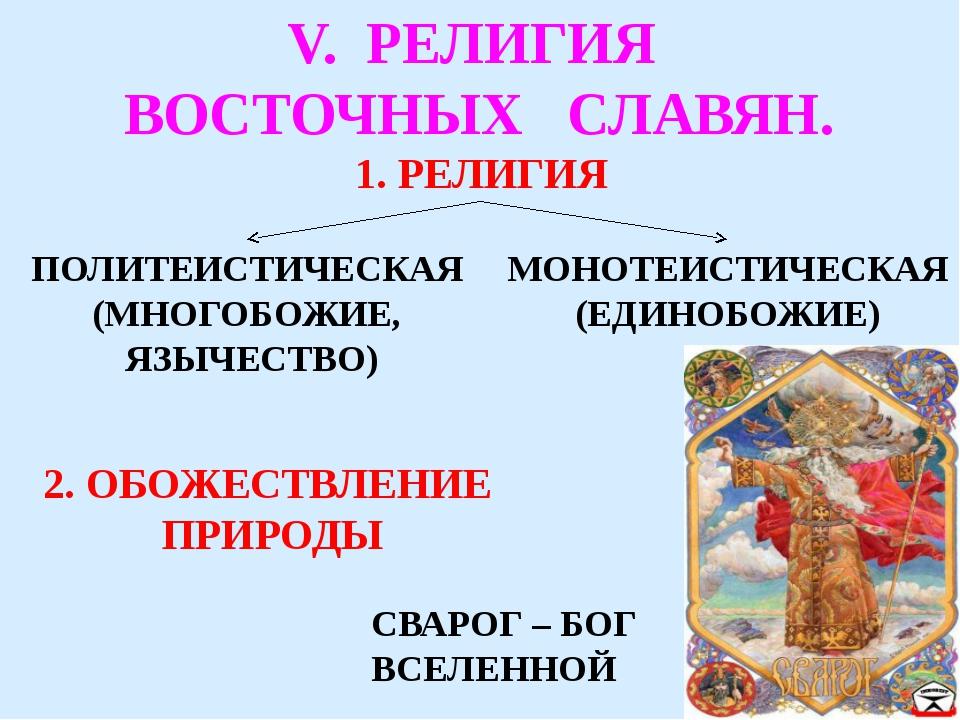 V. РЕЛИГИЯ ВОСТОЧНЫХ СЛАВЯН. 1. РЕЛИГИЯ ПОЛИТЕИСТИЧЕСКАЯ (МНОГОБОЖИЕ, ЯЗЫЧЕСТ...