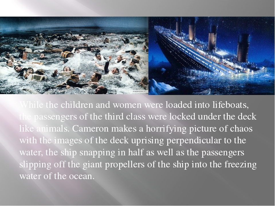 While the children and women were loaded into lifeboats, the passengers of th...