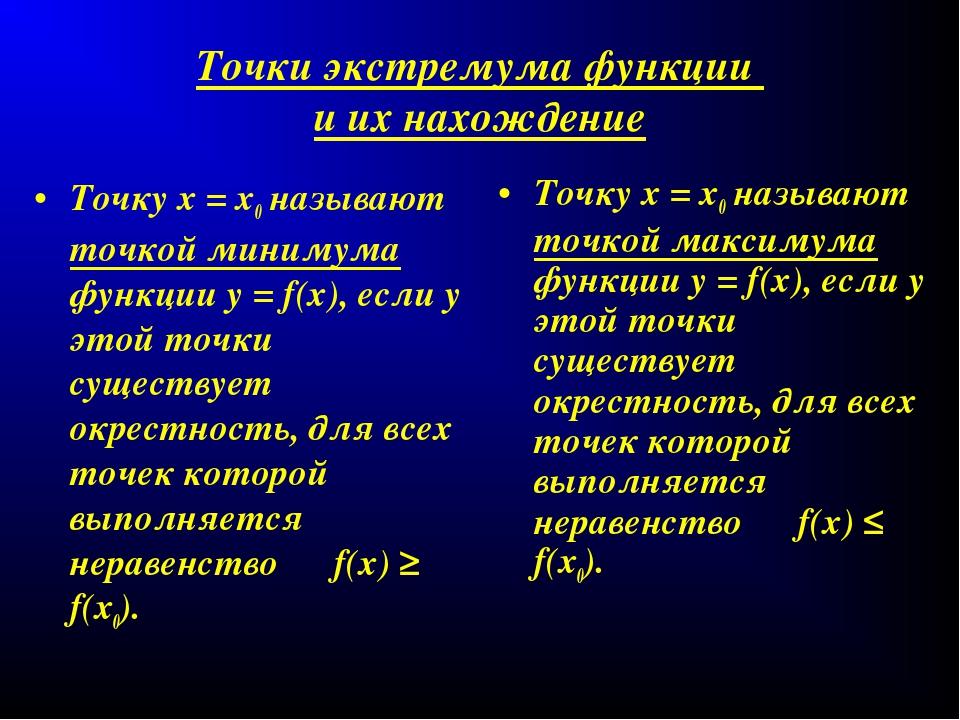 Точки экстремума функции и их нахождение Точку х = х0 называют точкой минимум...