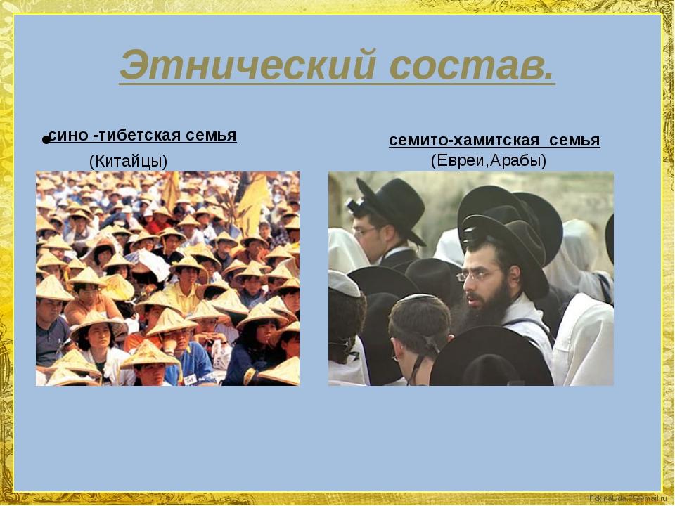Этнический состав. сино -тибетская семья (Китайцы) семито-хамитская семья (Ев...