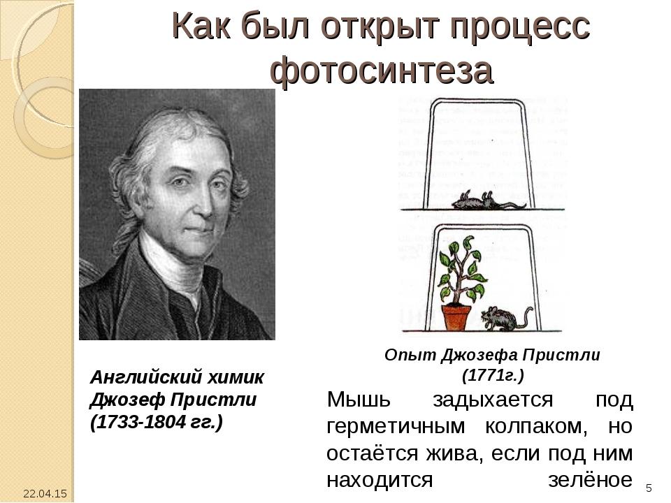 Как был открыт процесс фотосинтеза Английский химик Джозеф Пристли (1733-1804...