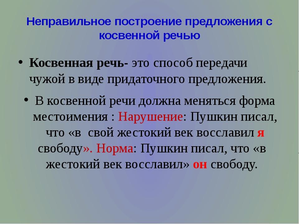 Неправильное построение предложения с косвенной речью Косвенная речь- это спо...