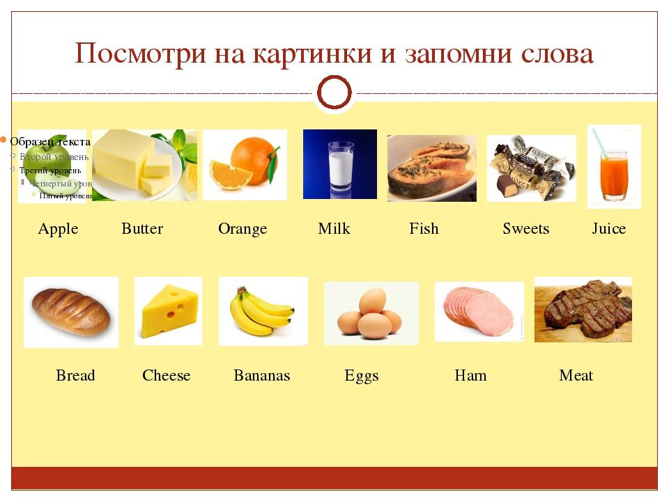 Посмотри на картинки и запомни слова Apple Butter Orange Milk Fish Sweets Jui...