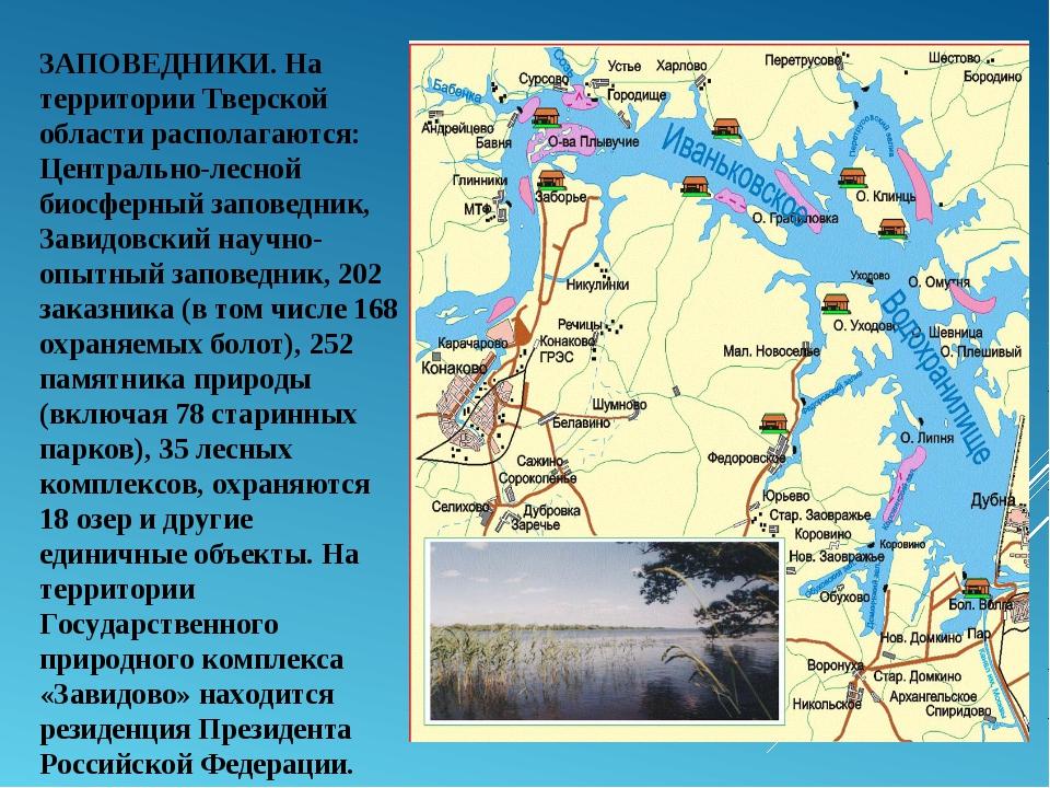 ЗАПОВЕДНИКИ. На территории Тверской области располагаются: Центрально-лесной...