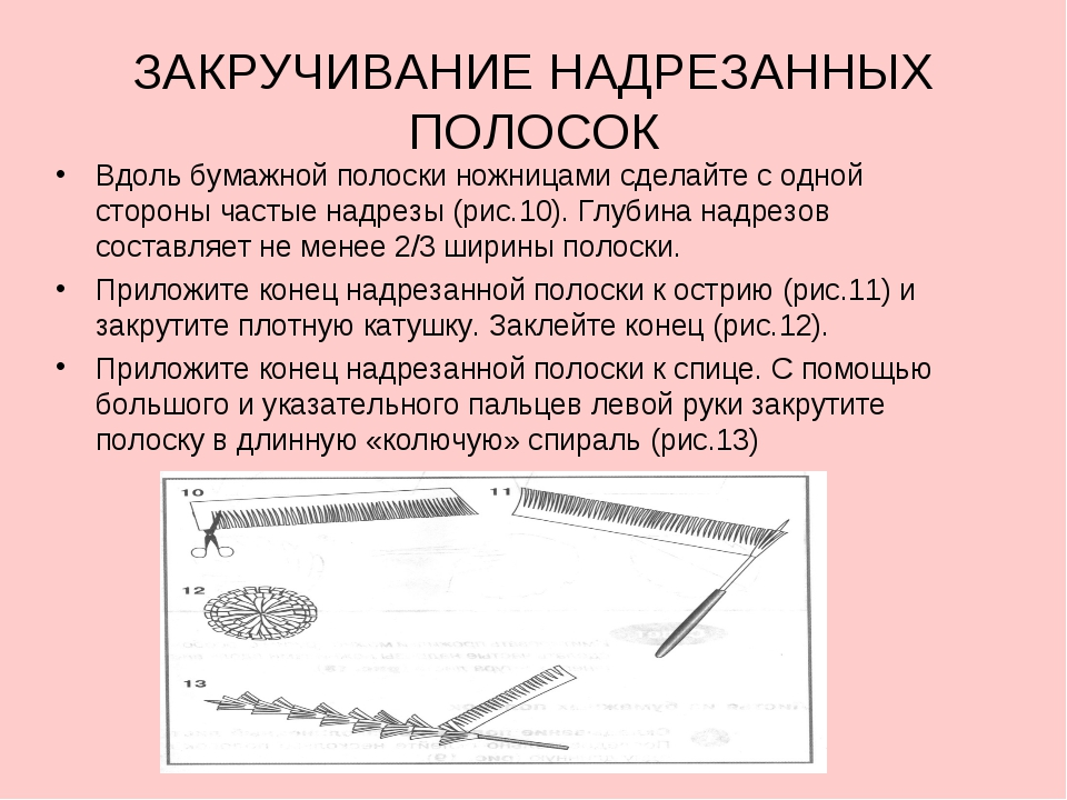 ЗАКРУЧИВАНИЕ НАДРЕЗАННЫХ ПОЛОСОК Вдоль бумажной полоски ножницами сделайте с...