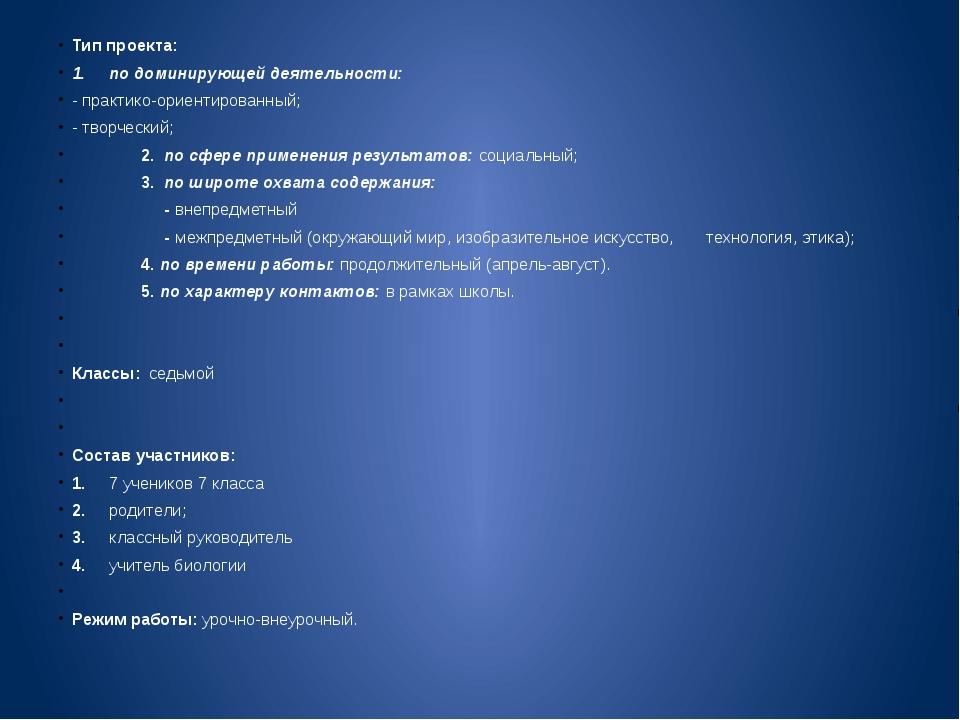 Тип проекта: 1. по доминирующей деятельности: - практико-ориентированный;...