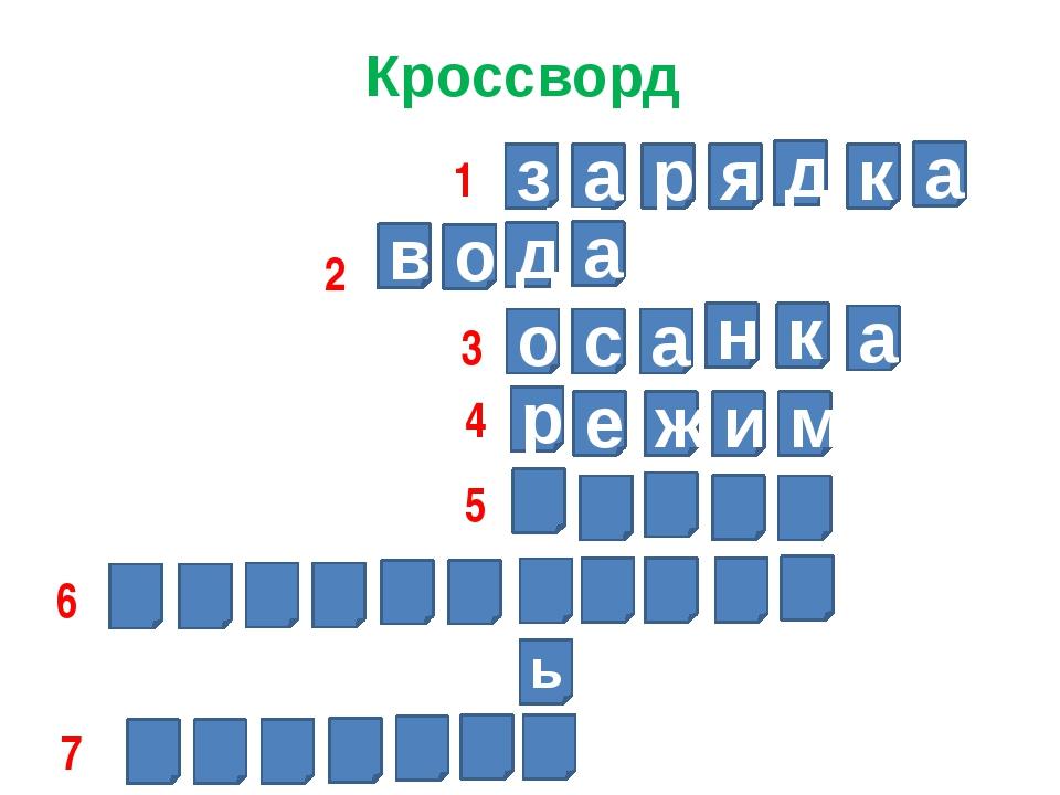 Кроссворд з а р я д к а д а о в о с а н к а р е ж и м ь 1 2 3 4 5 6 7