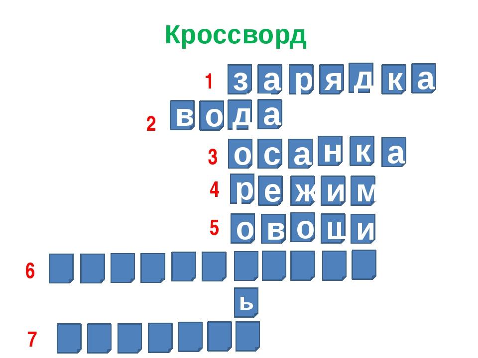 Кроссворд з а р я д к а д а о в о с а н к а р е ж и м о в о щ и ь 1 2 3 4 5 6 7
