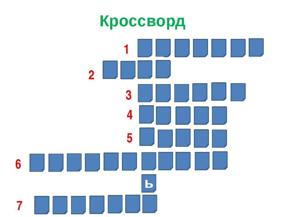 Кроссворд ь 1 2 3 4 5 6 7