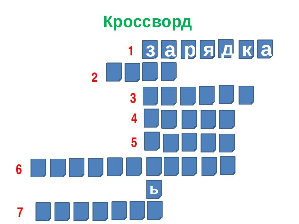 Кроссворд з а р я д к а ь 1 2 3 4 5 6 7