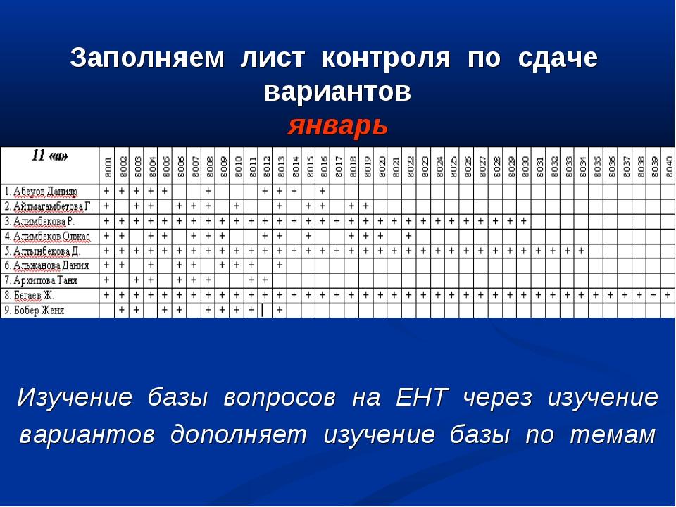 Заполняем лист контроля по сдаче вариантов январь Изучение базы вопросов на Е...
