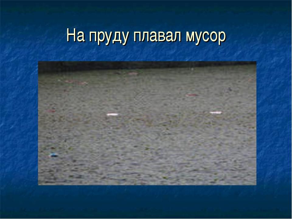 На пруду плавал мусор