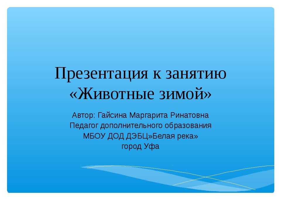 Презентация к занятию «Животные зимой» Автор: Гайсина Маргарита Ринатовна Пед...