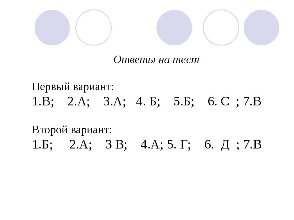 Ответы на тест Первый вариант: 1.В; 2.А; 3.А; 4. Б; 5.Б; 6. С ; 7.В Второй ва...