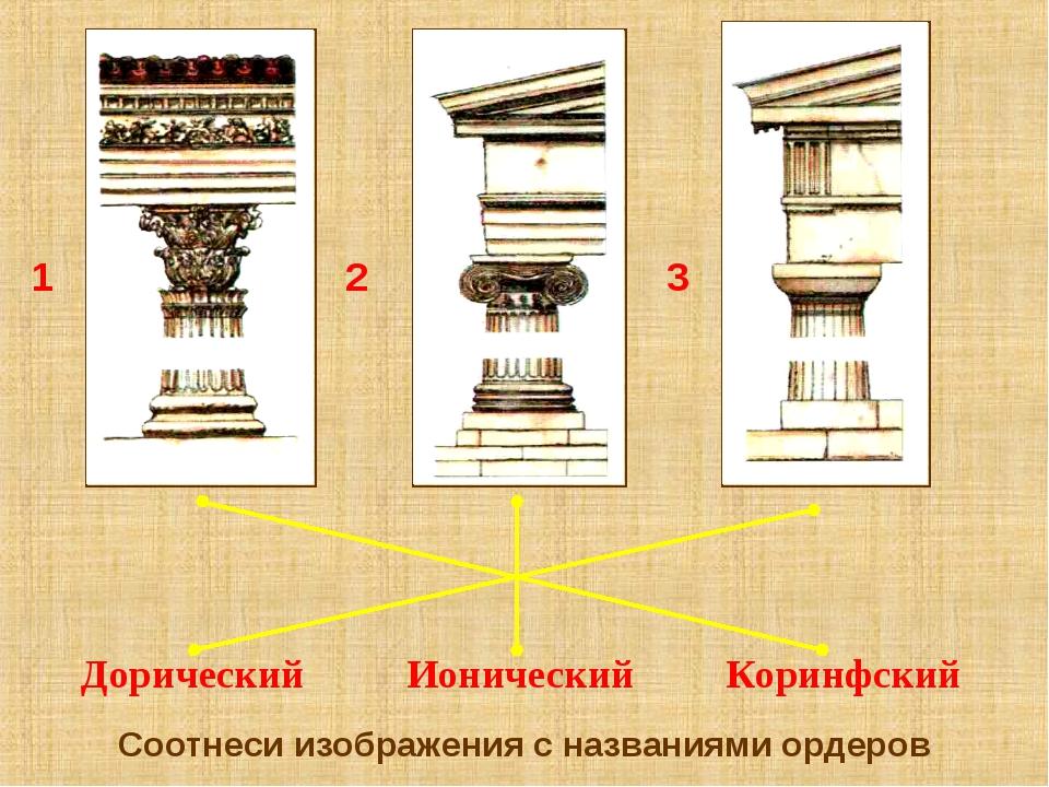 Соотнеси изображения с названиями ордеров Дорический Ионический Коринфский 1...