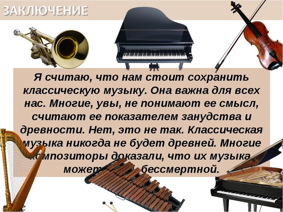 Я считаю, что нам стоит сохранить классическую музыку. Она важна для всех нас...