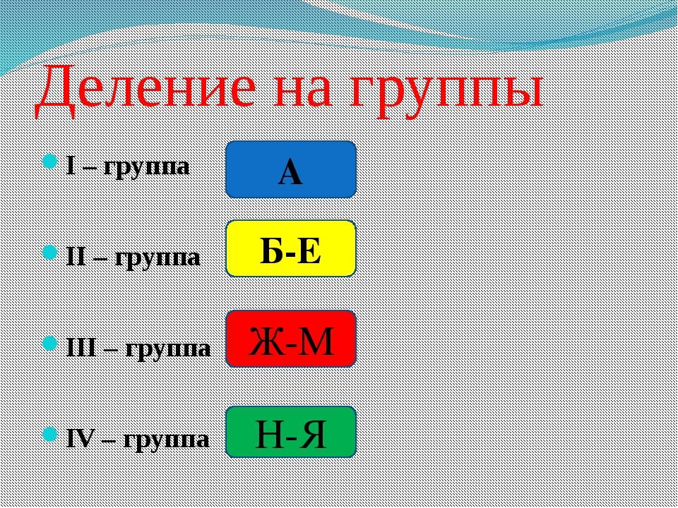 Деление на группы І – группа ІІ – группа ІІІ – группа IV – группа А Б-Е Ж-М Н-Я
