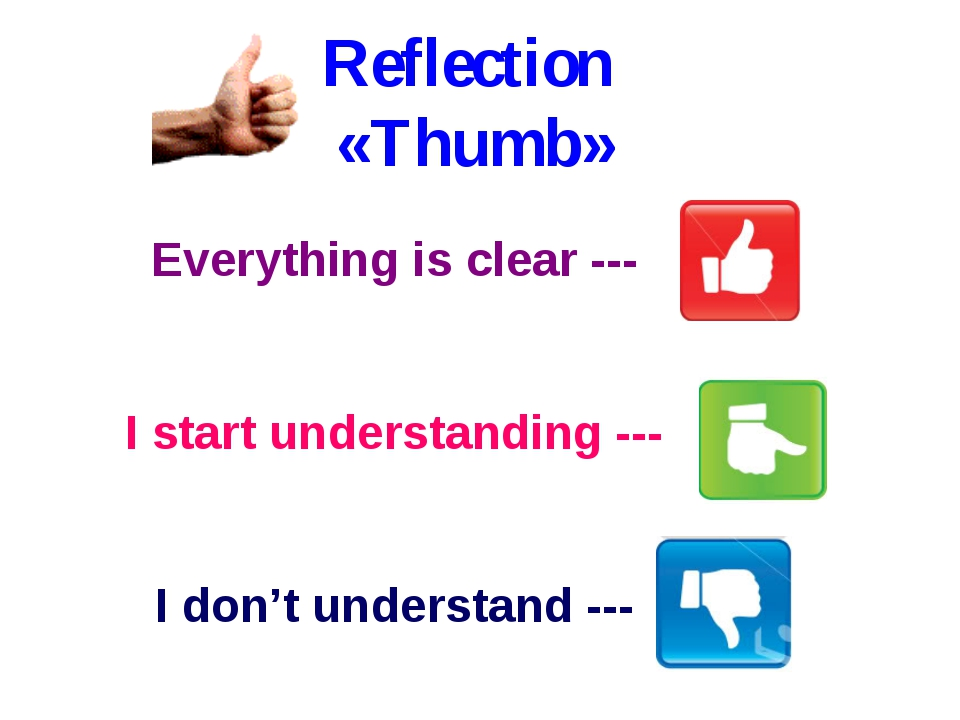 Everything is clear --- I start understanding --- I don't understand --- Refl...