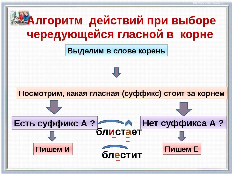 Алгоритм действий при выборе чередующейся гласной в корне Выделим в слове кор...