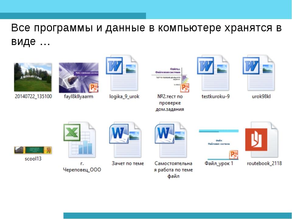 Все программы и данные в компьютере хранятся в виде …