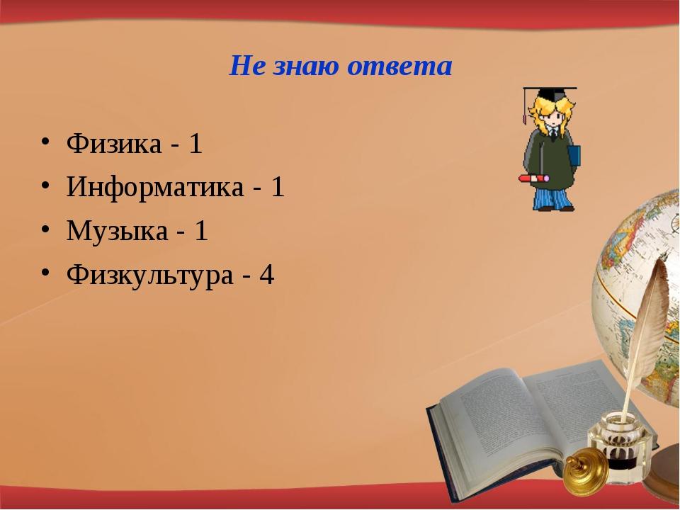 Не знаю ответа Физика - 1 Информатика - 1 Музыка - 1 Физкультура - 4