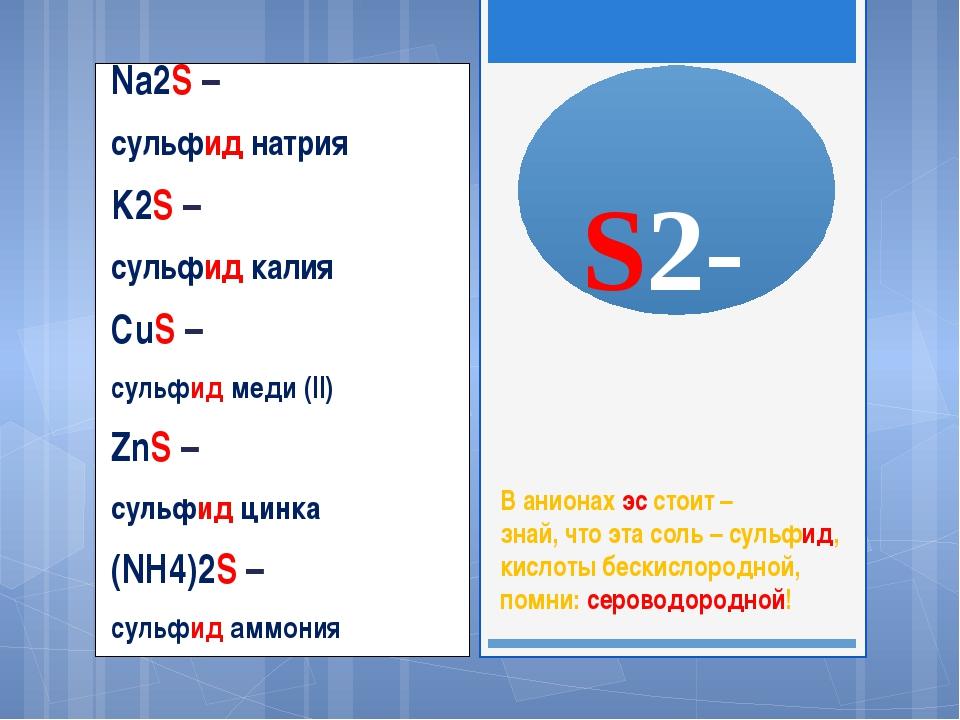 S2- Na2S – сульфид натрия K2S – сульфид калия CuS – сульфид меди (II) ZnS –...