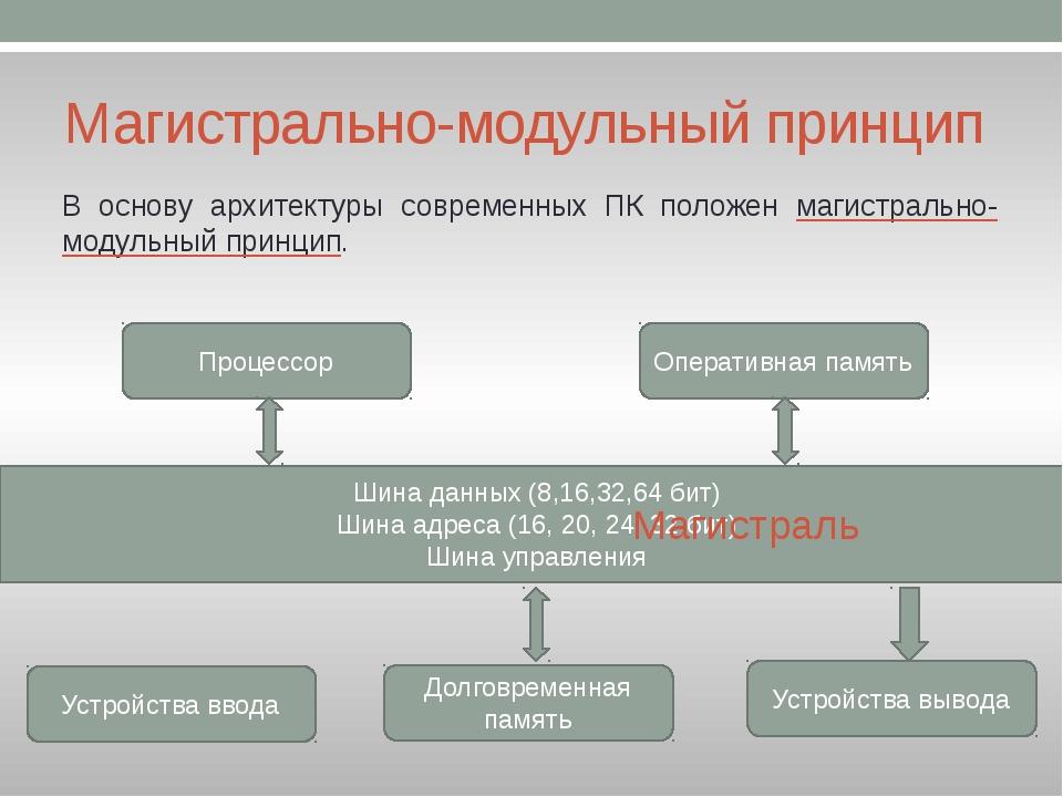 Магистрально-модульный принцип В основу архитектуры современных ПК положен ма...