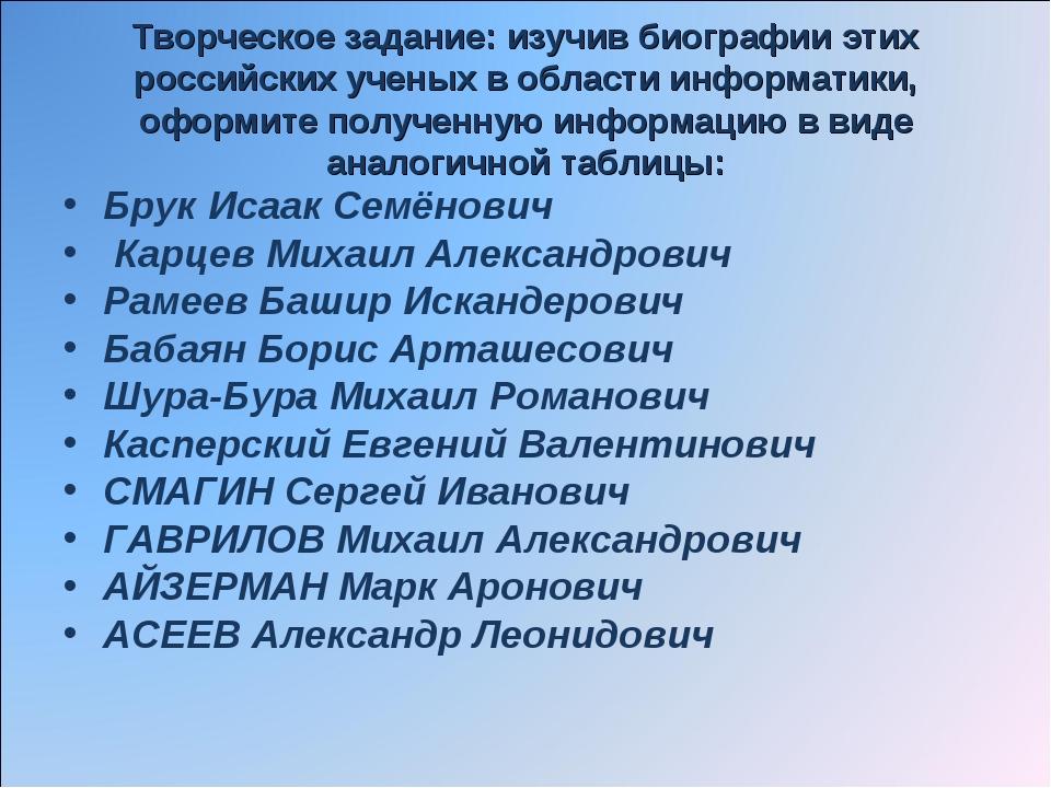 Творческое задание: изучив биографии этих российских ученых в области информа...