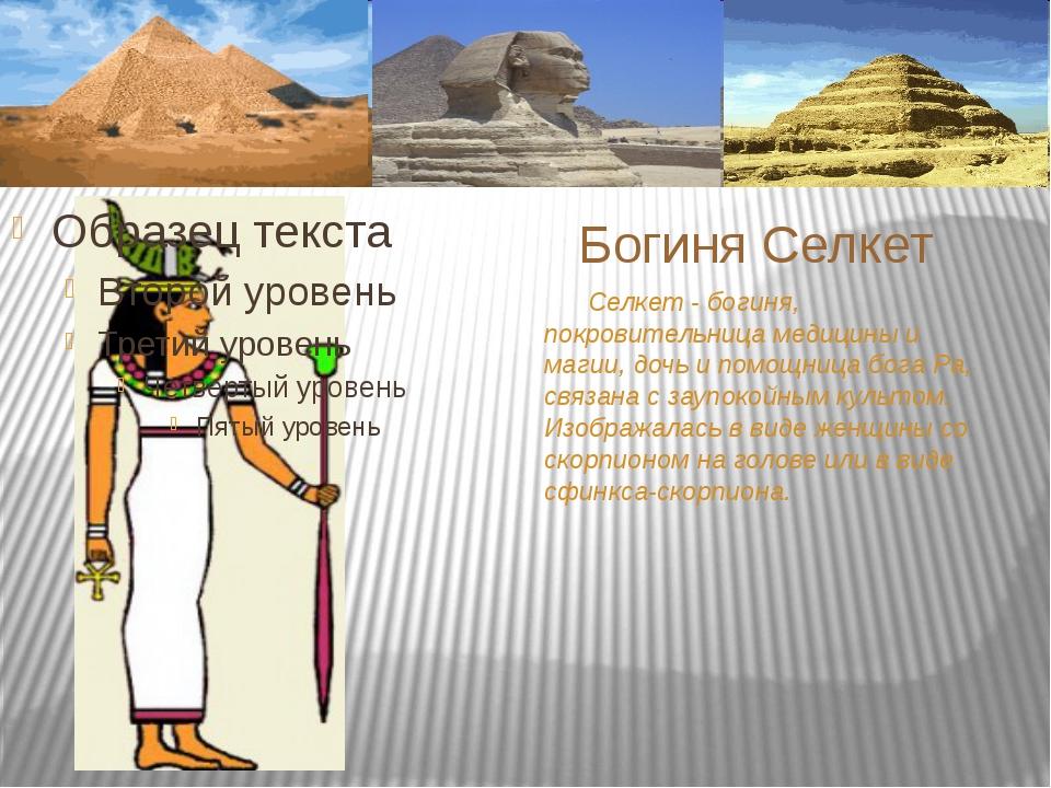 Селкет - богиня, покровительница медицины и магии, дочь и помощница бога Ра,...