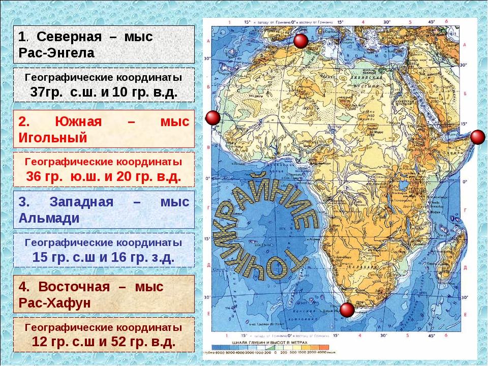 1. Северная – мыс Рас-Энгела Географические координаты 37гр. с.ш. и 10 гр. в....