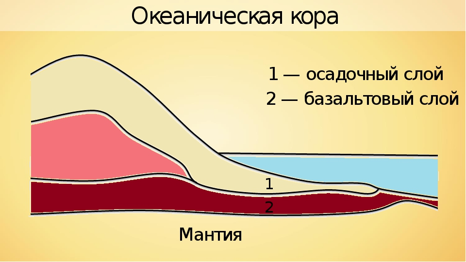 1 1 — осадочный слой 2 2 — базальтовый слой Океаническая кора Мантия