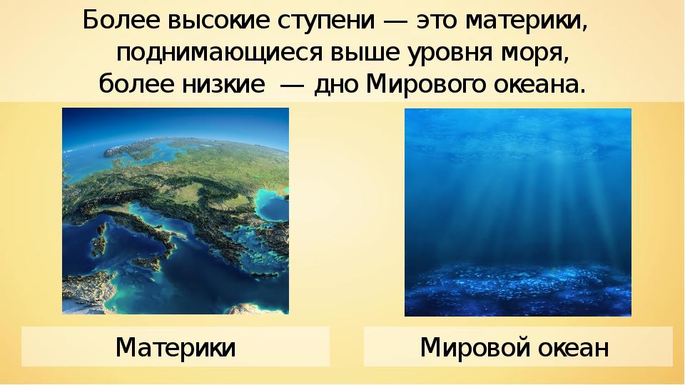 Мировой океан Материки Более высокие ступени — это материки, поднимающиеся вы...