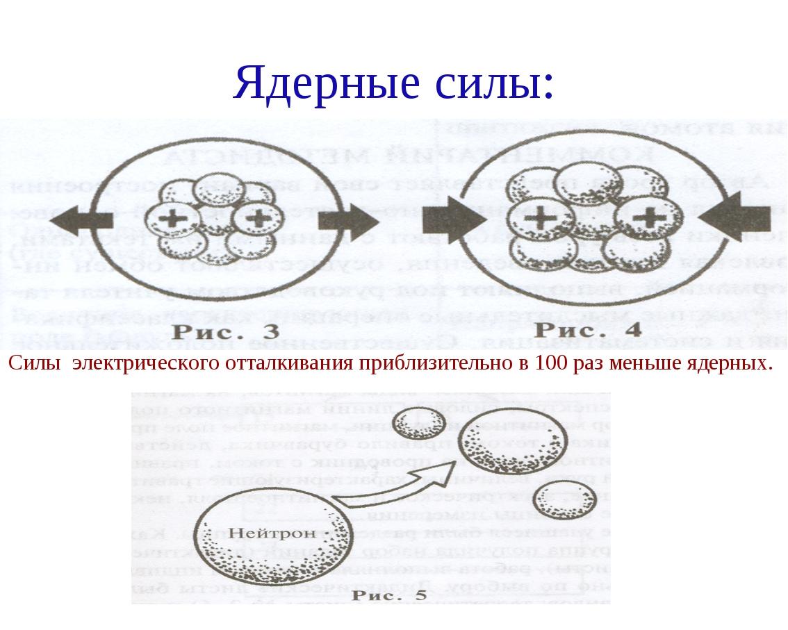 Ядерные силы: Силы электрического отталкивания приблизительно в 100 раз меньш...